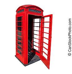 antigas, vermelho, telefone, caixa, Londres