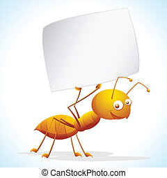 Ant with Placard - illustration of ant holding placard on...