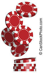 Poker Chips - Illustration of Falling Red Poker Chips...