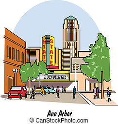 Ann Arbor Michigan city street scene including people and...