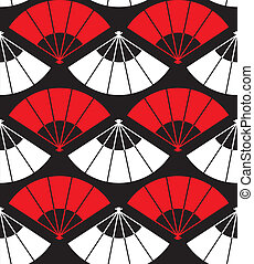 Japan fan abstract background in red, white and black....