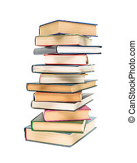 books closeup isolated on white background