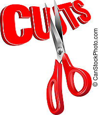 Cuts - Concept illustrating all types of cuts with 3D word