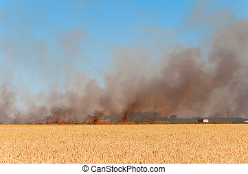 Fire Fighter - German Firefighter battling a fire, that...
