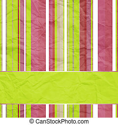 striped background with banner, variable width stripes