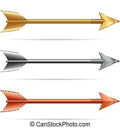 tres, flechas, -, oro, plata, y, bronce