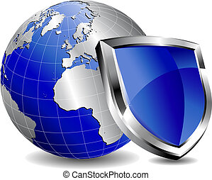 Shield Protection - Modern silver and blue shield with world...