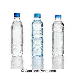 water dring plastic bottle - close up of water plastic...