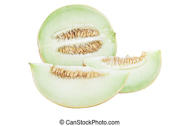 Slices of Honeydew - Slices of honeyduw melon with white...