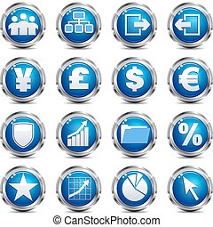 Web Site & Internet Icon - SET THRE - A set of sixteen blue...