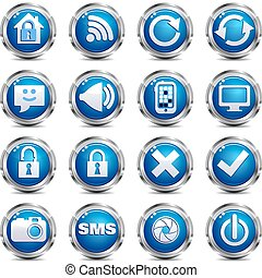 Web Site & Internet Icon - SET TWO - A set of sixteen blue...
