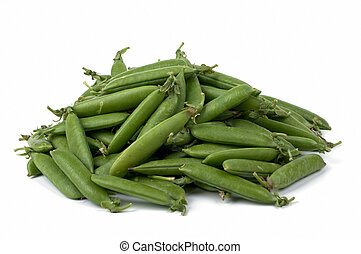 Peas pods - Fresh juicy Pods of peas on a white background