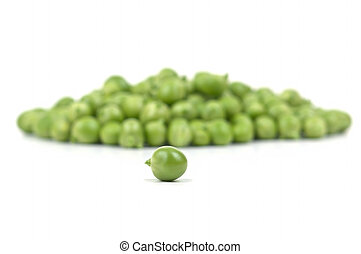 Green peas - One peas at the head of others
