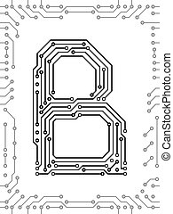 Alphabet of printed circuit boards. Easy to edit. Capital...