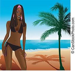 Black Bikini Beach Girl