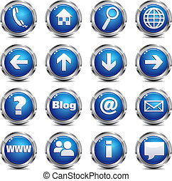 Web Site and Internet Icon - SET ONE - A set of sixteen blue...