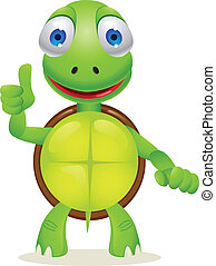 Turtle cartoon - Vector illustration of funny turtle cartoon