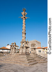 The medieval pillory of Porto in Se Cathedral Square, Portugal