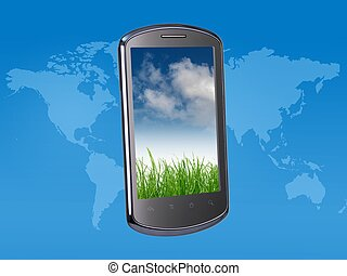 Smart Phone - A modern smart phone on a world map