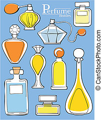 perfume bottles - set of perfume bottles in vector format...