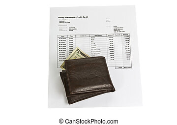 Financially Broke - Wallet with five dollar bill and credit...