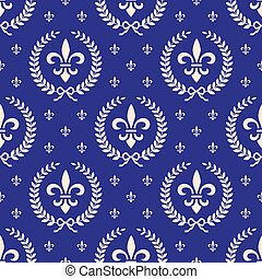 Blue royal seamless textile pattern - Royal classic seamless...