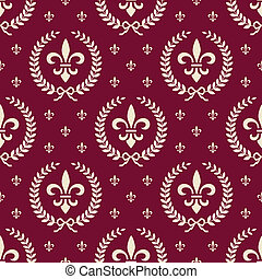 Red royal seamless textile pattern - Royal neoclassical...