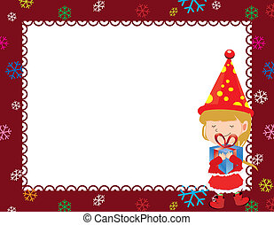 Christmas card - Marry Christmas, greeting card a girl with...