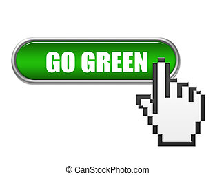 go green button - green and white go green button with hand...