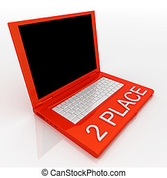 Laptop computer with word 2 place on it - 3D blank laptop...