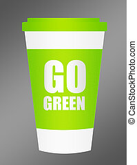 plastic cup go green - green and white plastic cup go green...