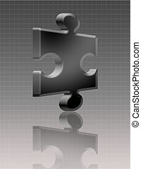 3d puzzle - black 3d puzzle with shadow over black...
