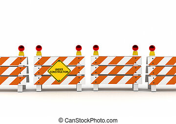 Under construction - A line of barriers with under...