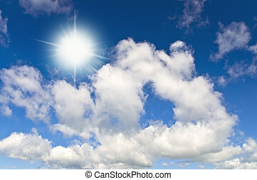 Sun in bright blue sky. Cloudscape