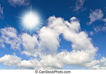 Sun in bright blue sky. Cloudscape