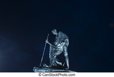 Mahatma Gandhi - A statue of Mahatma Gandhi beautifully lit...