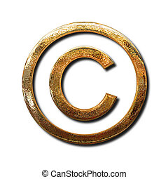 Golden copyright symbol Isolated object with shadow