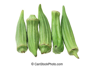 Okra on Isolated White Background