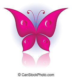 Simply butterfly - Vector illustration of magenta icon...