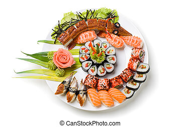 Photo of a rolled and sushi on the white plate