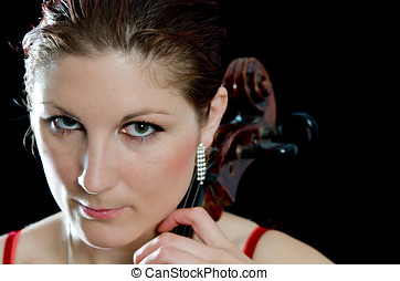Portrait of beautiful cello player