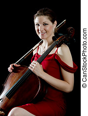Smiling woman with cello player - Portrait of a pretty young...
