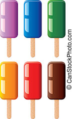 vector set of fruit and chocolate colorful popsicles