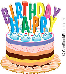 birthday cake with candles - vector birthday cake with...