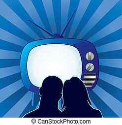 couple watching retro tv set - vector couple watching retro...