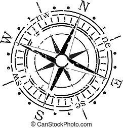 grunge, vecteur, compas