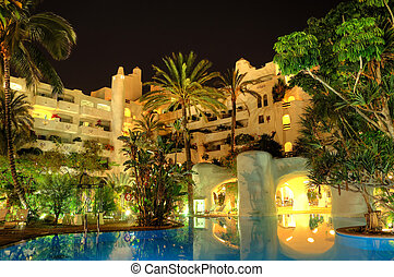 Night illumination of luxury hotel, Tenerife island, Spain