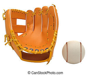 Sports: baseball glove and ball isolated over white...