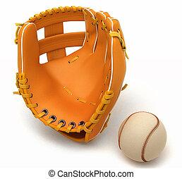 Sports in USA: baseball glove and ball