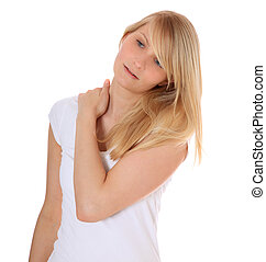 Hardening - Attractive young woman suffering from neck pain...